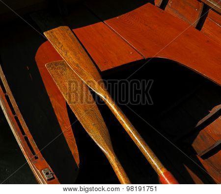 Vintage Wooden Boat Sun Oars