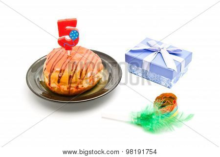 Donut With Five Years Birthday Candle, Gift And Whistle On White