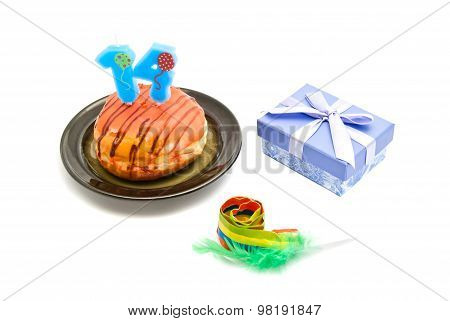 Donut With Fourteen Years Birthday Candle, Whistle And Gift On White