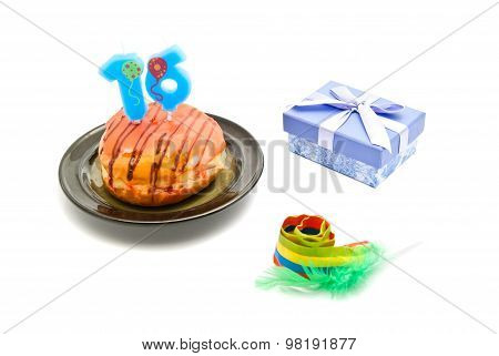 Donut With Sixteen Years Birthday Candle, Whistle And Gift