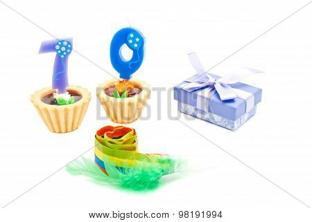 Cakes With Seventy Years Birthday Candles, Whistle And Gift