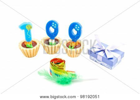 Cakes With One Hundred Years Birthday Candles, Whistle And Gift