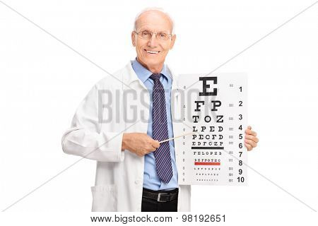 Studio shot of a mature optician holding an eyesight test and pointing on it with a wooden stick isolated on white background