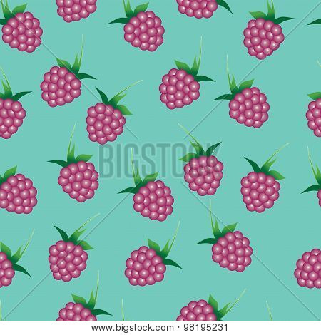 Vector seamless pattern with bright pink raspberries on the emerald green background