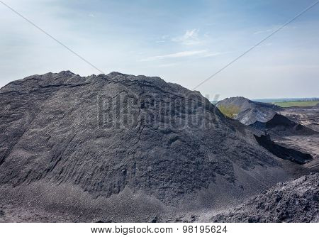 Deposits Of Coal In The Territory Of The Coal Preparation Plant. Donbass, Ukraine