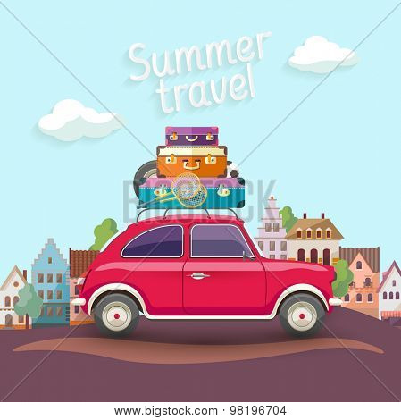 Travel by car. Flat design with text