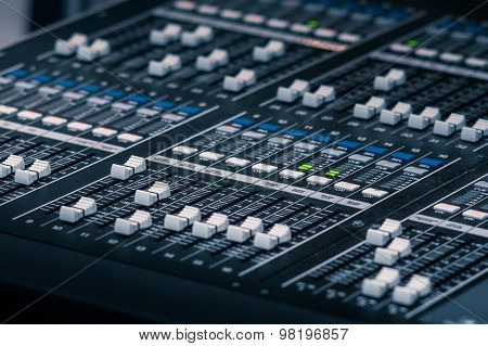 Audio Mixer with Equalizer and Input levels adjustment on black panel