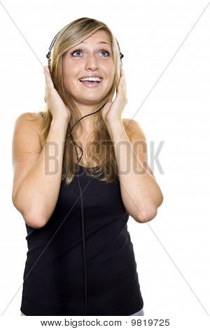 Woman listening to music and singing
