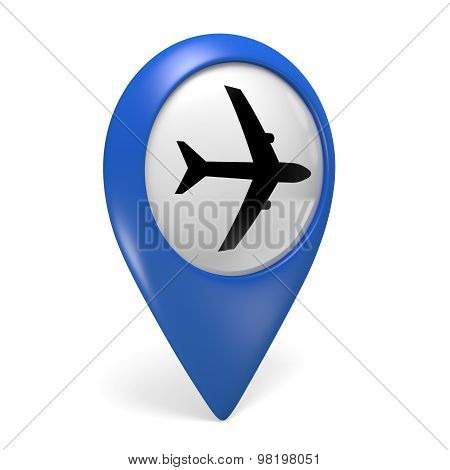 Blue map pointer 3D icon with a plane symbol for airports