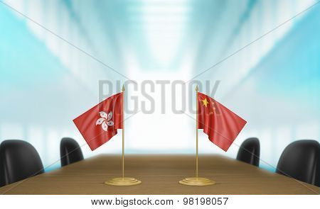 Hong Kong and China relations and trade deal talks 3D rendering