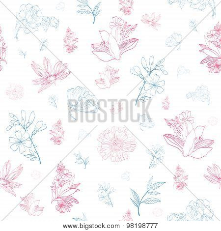 Vector Pastel Pink Blue Japanese Asian Floral Seamless Pattern