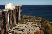 foto of burlington  - The view from the roof of a condo high rise to the building beside and 
