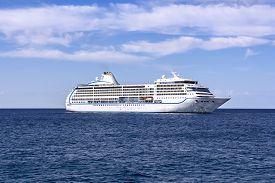pic of passenger ship  - The white passenger ship sailing on the Mediterranean Sea - JPG