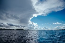 foto of sails  - View from the board of a sailing yacht on the waters - JPG