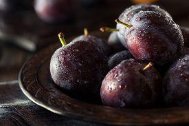 foto of prunes  - Organic Ripe Purple Prune Plums Ready to Eat - JPG