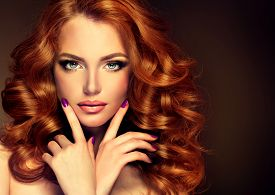 foto of headings  - Girl model with long curly red hair  - JPG