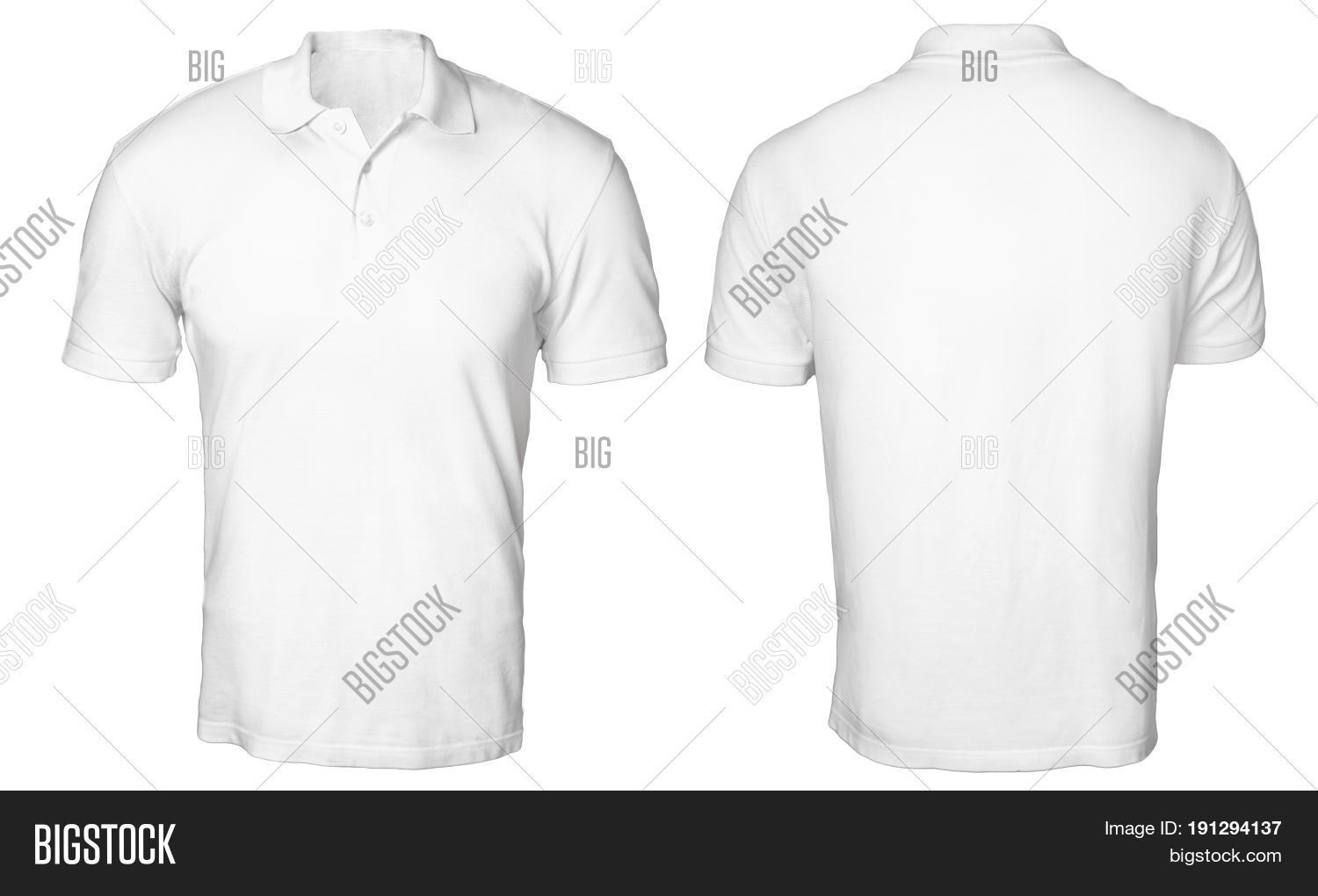 T shirt plain white front and back - Blank Polo Shirt Mock Up Template Front And Back View Isolated On White Plain T