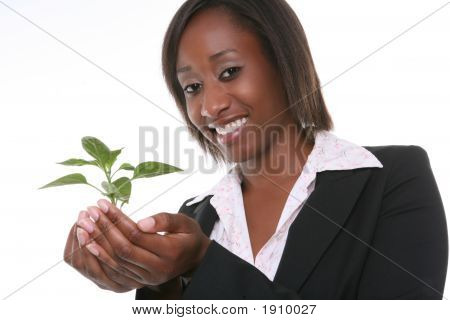 Pretty Woman And Growth Plant