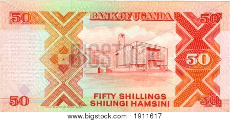 Old Paper Banknote Money Uganda Shilling