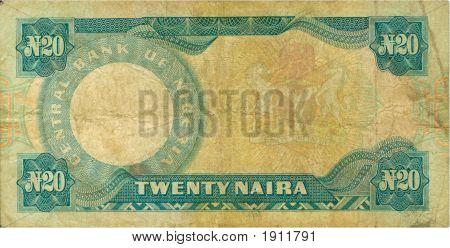 Old Paper Banknote Money Nigeria Naira