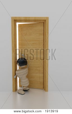 Boy Open Door