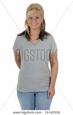 Pretty Woman Wearing A Plain Gray Tee Shirt