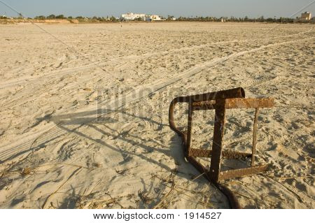 Rusty Iron On A Desolate Beach