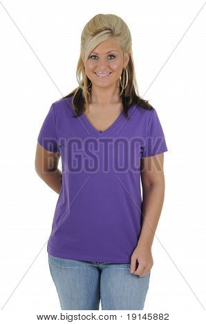 Pretty Woman Wearing A Plain Purple Tee Shirt