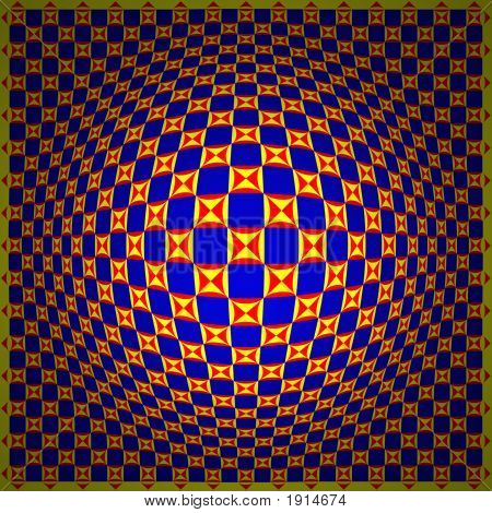 Op Art Expand One Blue Yellow