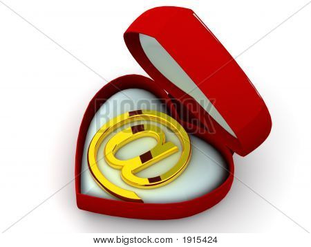 Box As Heart With A Symbol For Internet