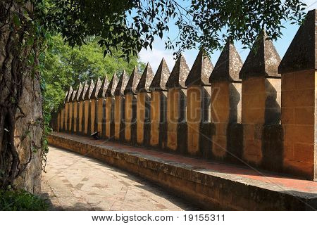 Wall crenellations in Almodovar Del Rio medieval castle in Spain