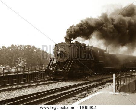 Alte Dampfmaschine Lokomotive und Zug