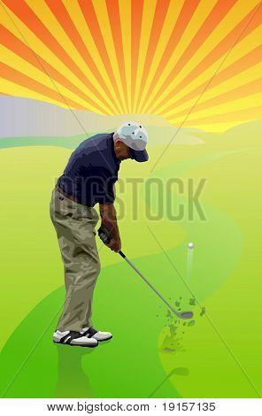Jogador de golfe bater uma bola de golfe para o verde - vetor