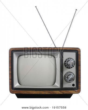 Televisão vintage de grunge com antena isolada no branco