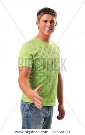 Young man offering a handshake isolated on white