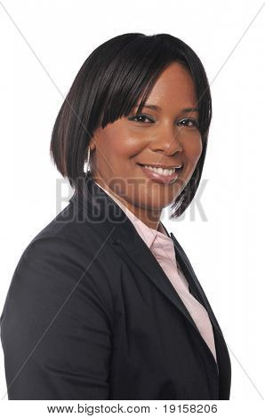 Black businesswoman portrait smiling against a white background