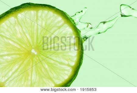 Lime Splash On Green