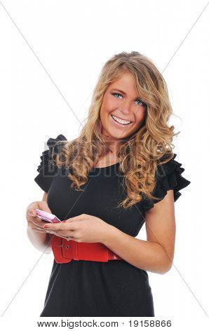 Young woman texting with her cell phone against a white background