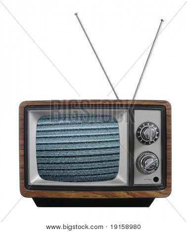 Old vintage television with no signal isolated against a white background