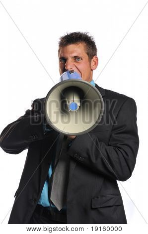 Young businessman with megaphone expressing anger isolated on a white background