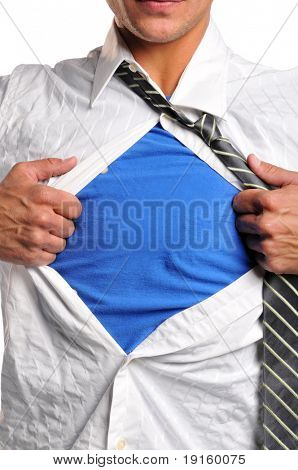Businessman opening his shirt wearing a blue t-shirt underneath