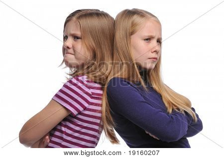 Two girl resolving a conflict isolated on a white background