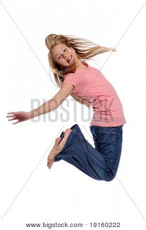Girl jumping showing happiness isolated on a white background