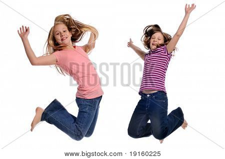 Girls jumping showing happiness isolated on a white background