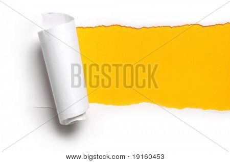 ripped white paper against a yellow background