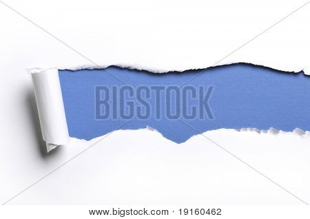 arrancó el libro blanco sobre un fondo azul
