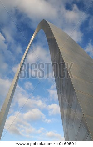 Saint Louis Arch against blue sky and clouds