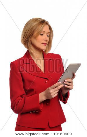 Businesswoman holding an e-book isolated over a white background
