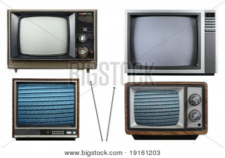 Old vintage televisions with antenna isolated on a white background