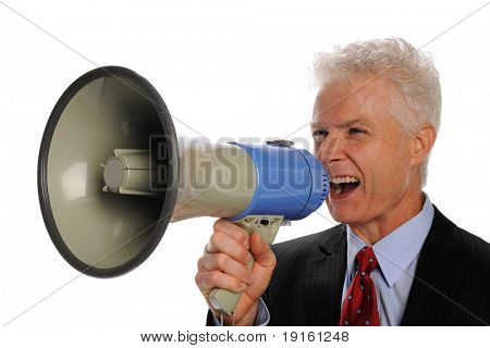 Businessman screaming with a megaphone isolated on a white background